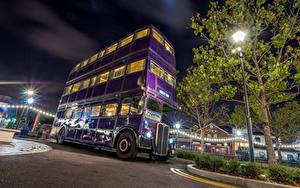 Fotos Vereinigte Staaten Park Disneyland Omnibus Kalifornien Anaheim Design HDRI Nacht Straßenlaterne Städte