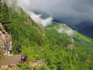 Desktop hintergrundbilder Vereinigte Staaten Park Wald Berg Felsen Glacier National Park Natur