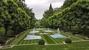 Hintergrundbilder Vereinigte Staaten Park Springbrunnen Design Rasen Bäume Pennsylvania Longwood Gardens, Kennett Square