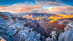 Fotos USA Park Grand Canyon Park Felsen Schnee Wolke Canyon Arizona