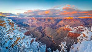 Bilder Vereinigte Staaten Parks Grand Canyon Park Landschaftsfotografie Canyon Felsen Schnee Wolke Arizona