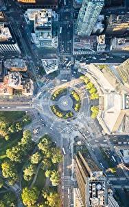 Hintergrundbilder Vereinigte Staaten Park Gebäude Wege New York City Von oben Städte
