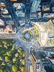 Hintergrundbilder Vereinigte Staaten Parks Gebäude Wege New York City Von oben Städte