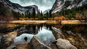 Fotos USA Park Gebirge Herbst Wälder See Steine Landschaftsfotografie Kalifornien Yosemite