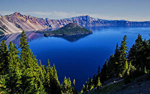 Hintergrundbilder USA Parks Gebirge See Insel Crater Lake National Park Oregon