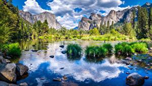 Bakgrunnsbilder USA Parker Fjell Elver Elv Steiner Landskapsfotografering California Yosemite Klippe Skyer