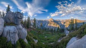 Bakgrunnsbilder Amerika Park Fjell Landskap Yosemite Klippe Trær California Glacier Point