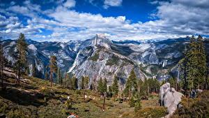 Bakgrunnsbilder USA Parker Fjell Landskapsfotografering Himmelen California Yosemite Klippe Trær Skyer Glacier Point