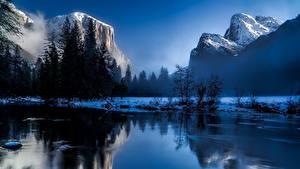 Bilder Vereinigte Staaten Park Gebirge Landschaftsfotografie Yellowstone Schnee Felsen Nebel Wyoming Natur