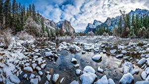 Bilder Vereinigte Staaten Park Gebirge Steine Winter Landschaftsfotografie Yosemite Schnee