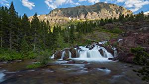 Bilder USA Parks Gebirge Wasserfall Felsen Bäume Glacier National Park