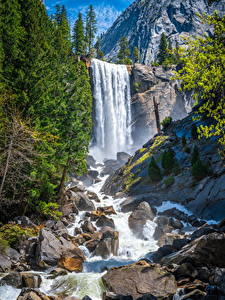 Desktop hintergrundbilder Vereinigte Staaten Parks Gebirge Wasserfall Stein Yosemite Felsen Kalifornien Natur