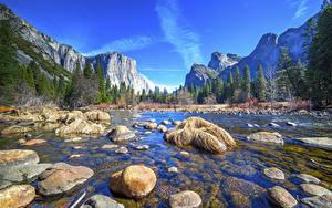 Fotos USA Parks Fluss Stein Berg Wald Landschaftsfotografie Yosemite Kalifornien