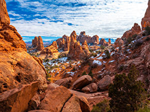 Bilder USA Park Steine Felsen Wolke Arches National Park Natur