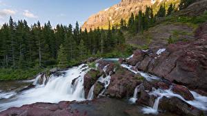 Bilder Vereinigte Staaten Park Stein Wasserfall Felsen Bäume Glacier National Park Natur