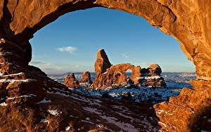 Hintergrundbilder Vereinigte Staaten Park Felsen Schnee Bogen architektur Utah, Arches National Park Natur