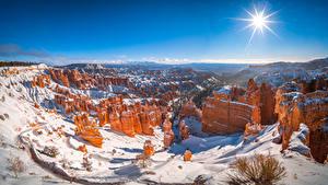 Hintergrundbilder Vereinigte Staaten Parks Winter Panoramafotografie Landschaftsfotografie Sonne Schnee Felsen Bryce Canyon National Park, Utah