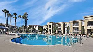 Bilder Vereinigte Staaten Resort Gebäude Kalifornien Schwimmbecken Palmengewächse San Jose Städte