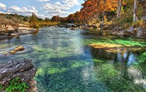 Fotos Vereinigte Staaten Flusse Herbst Steine Texas Bäume Frio River Natur