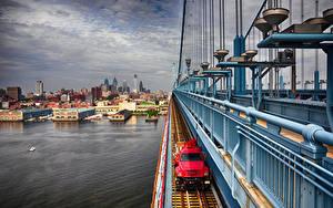 Hintergrundbilder USA Fluss Brücken Haus Philadelphia, Benjamin Franklin Bridge Städte