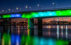 Hintergrundbilder Vereinigte Staaten Flusse Brücken Haus Kalifornien Nacht Straßenlaterne Queensway Bridge at Shoreline Village in Long Beach Städte