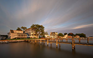 Fotos USA Flusse Schiffsanleger Gebäude Middle River Natur