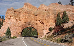 Picture USA Roads Asphalt Cliff Arch Red Arch Road, Utah Nature