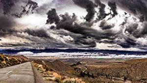 Bilder USA Wege Himmel Gewitterwolke Kalifornien Hügel Owens Valley