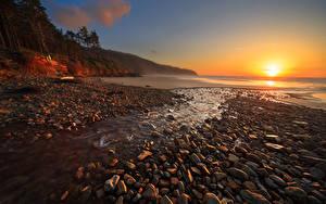 Fotos USA Meer Sonnenaufgänge und Sonnenuntergänge Steine Landschaftsfotografie Sonne Cape Lookout Beach Oregon