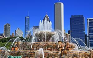 Bilder Vereinigte Staaten Wolkenkratzer Springbrunnen Park Chicago Stadt Illinois, Buckingham Fountain, Grant Park Städte