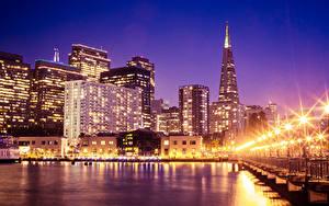 Fotos USA Wolkenkratzer Haus San Francisco Nacht Straßenlaterne