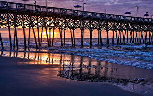 Fotos Vereinigte Staaten Morgendämmerung und Sonnenuntergang Küste Wasserwelle Brücke Vogel Kalifornien Garden City Beach Natur