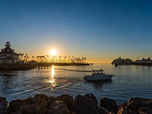 Hintergrundbilder USA Morgendämmerung und Sonnenuntergang Seebrücke Schiff Gebäude Kalifornien Bucht Long Beach Natur