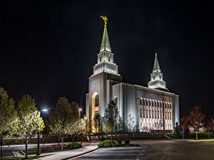 Bilder USA Tempel Nacht Straßenlaterne Kansas City Temple
