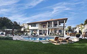 Hintergrundbilder Vereinigte Staaten Villa Kalifornien Design Schwimmbecken Rasen Sonnenliege Tustin Städte