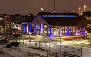 Bilder USA Winter Haus Abend Chicago Stadt Stadtstraße Straßenlaterne
