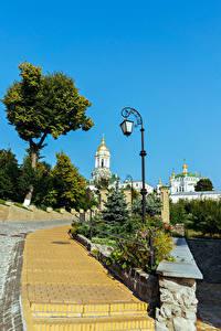 Hintergrundbilder Ukraine Kiew Tempel Straßenlaterne Treppe Pechersk Lavra complex