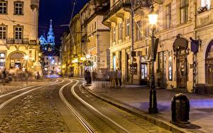 Hintergrundbilder Ukraine Lwiw Haus Abend Wege Straße Straßenlaterne Städte
