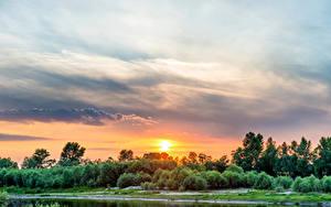 Hintergrundbilder Ukraine Sonnenaufgänge und Sonnenuntergänge Flusse Himmel Sonne Dnepr