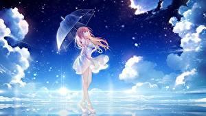 Bilder Regenschirm Kleid Wolke Bein Stöckelschuh Anime Mädchens