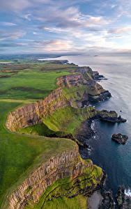 Hintergrundbilder Vereinigtes Königreich Küste Felsen Wolke Antrim, Northern Ireland