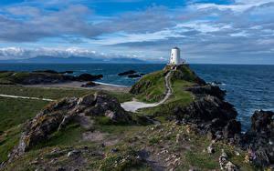 Fotos Vereinigtes Königreich Küste Leuchtturm Meer Wales Wolke Anglesey