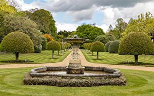 Hintergrundbilder Vereinigtes Königreich Garten Springbrunnen Design Bäume Rasen Ascott House gardens Natur