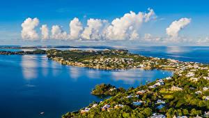Bilder Vereinigtes Königreich Gebäude Küste Bucht Wolke Island in Harrington Sound Bermuda Städte