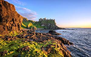 デスクトップの壁紙、、イギリス、海、海岸、石、城、廃墟、岩、ハイダイナミックレンジ合成、Antrim, Northern Ireland, Dunluce Castle、自然