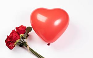 Hintergrundbilder Valentinstag Sträuße Rosen Weißer hintergrund Rot Luftballons Herz Blüte