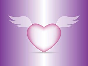 Papéis de parede Dia dos Namorados Cor de fundo Coração Asa