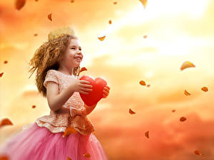 Pictures Valentine's Day Little girls Frock Heart Petals Smile Children