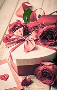 Hintergrundbilder Valentinstag Rosen Geschenke Schleife Herz