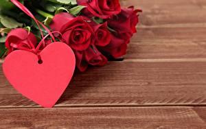 Bilder Valentinstag Rosen Herz Vorlage Grußkarte Bretter Rot Blumen